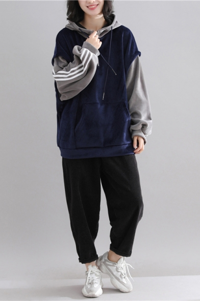 Sporty Striped Contrast Long Sleeves Loose Fit Front Pocket Pullover Hoodie