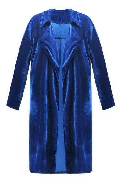 Velvet Long Sleeve Notched Lapel Collar Tie Waist Plain Longline Trench Coat