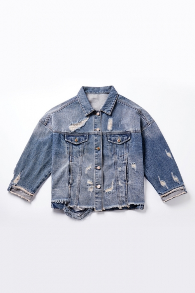 Women's Fashion Letter Ribbon Patched Ripped Cartoon Rabbit Print Back Fringed Hem Blue Denim Jacket