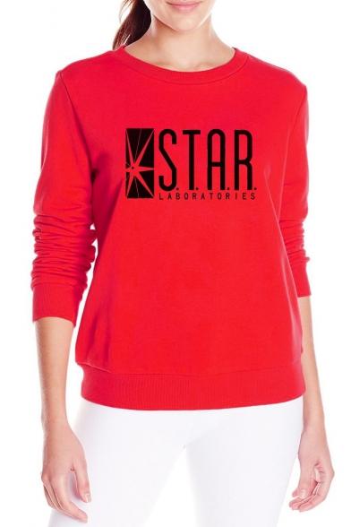 Women's Long Sleeve Letter STAR Printed Round Neck Sweatshirt