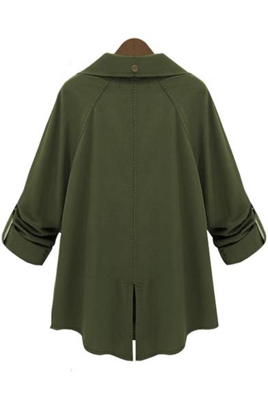 Army Green Long Sleeve Lapel Collar Split Back Plain Single Breasted Tunics Trench Coat