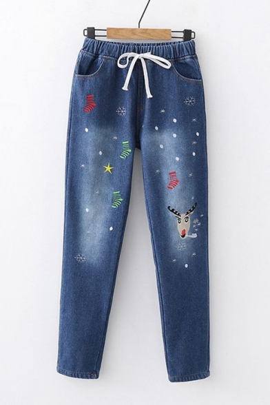 Chic Christmas Deer Embroidered Elastic Waist Thick Jeans