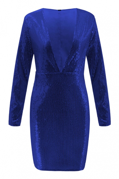 Ladies Plain Sequined Embellished Long Sleeve Shift Mini Dress