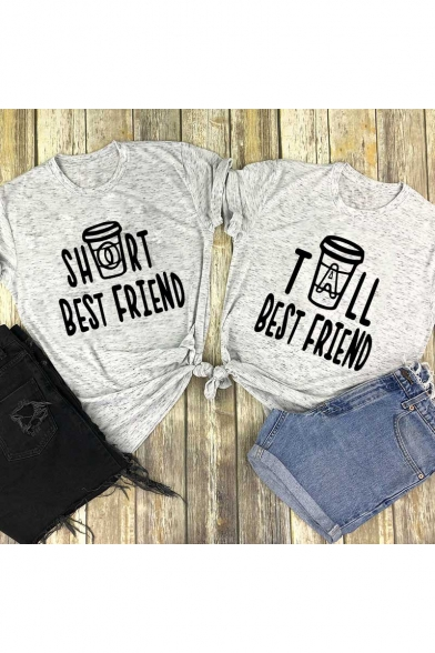 Leisure Short Sleeve Round Neck Letter BEST FRIEND Printed Fitted Tee