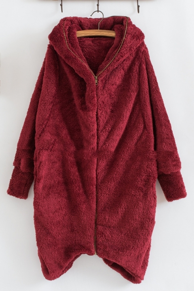 Long Sleeve Plain Leisure Double-Faced Fleece Zip Placket Hooded Coat