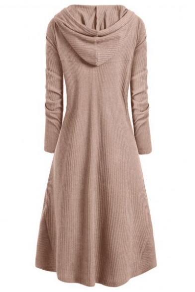 Loose Long Sleeve Plain High Low Asymmetrical Hooded Dress