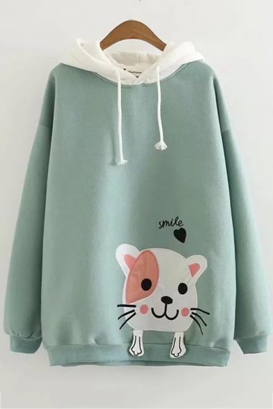 Lovely Long Sleeve Cartoon Cat Pattern Colorblock Drawstring Hoodie