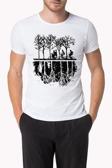 Men' Fashion Short Sleeve Round Neck Tree Figure Printed Slim White Top