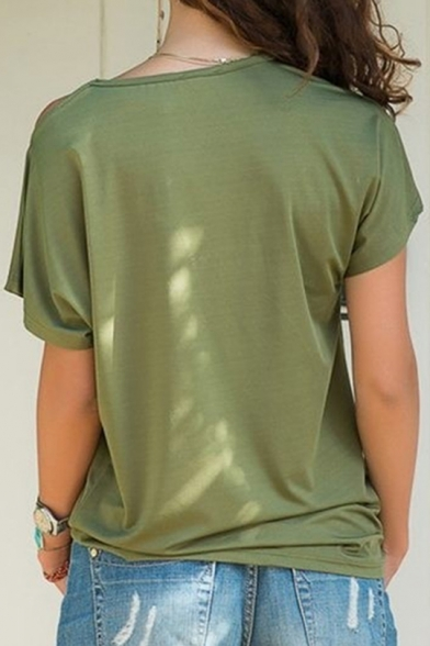 One Shoulder Short Sleeve Plain Leisure Tee for Women