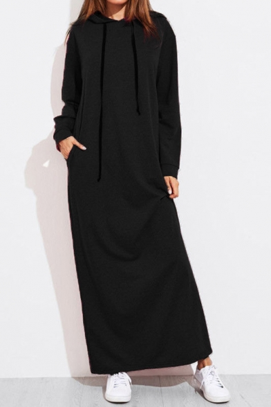 Popular Stylish Plain Long Sleeve Shift Maxi Hoodie Dress