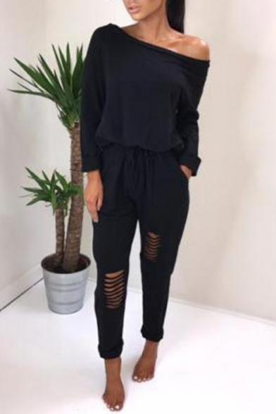 Купить со скидкой Sexy One Shoulder Long Sleeve Drawstring Waist Rolled Cuff Cutout Detail Plain Casual Jumpsuits