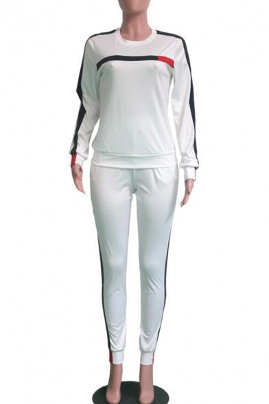 Sports Simple Long Sleeve Round Neck Top Stripes Patched Drawstring Waist Pants Co-ords