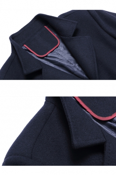 Stylish Long Sleeve Notched Lapel Collar Scarf Patched Single Breasted Plain Slim Woolen Coat