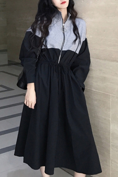 Trendy Colorblock Half-Zip Stand Collar Long Sleeve Drawstring Waist Midi A-Line Dress
