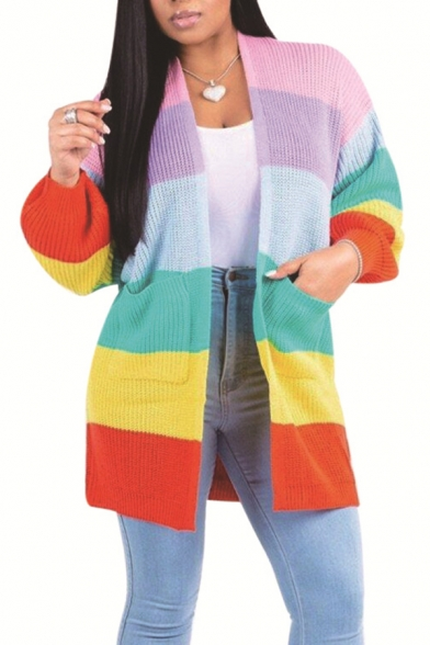 Trendy Rainbow Striped Print Long Sleeve Open Front Cardigan with Pockets, LC495858