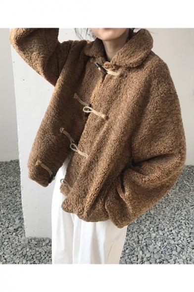Vintage Khaki Toggle Button Front Lapel Collar Long Sleeve Warm Shearling Short Coat