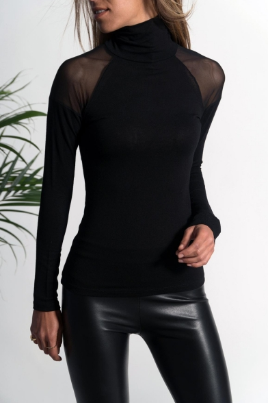 Women's Black Solid High Neck See Through Long Sleeve Slim Fit Sheer Tee LC497079 фото