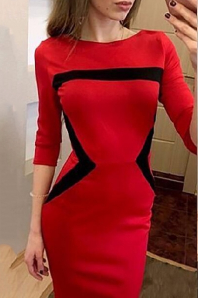 Black and White Cotton Round Neck Color Block Half Sleeve Slim Fit Midi Dress for Women
