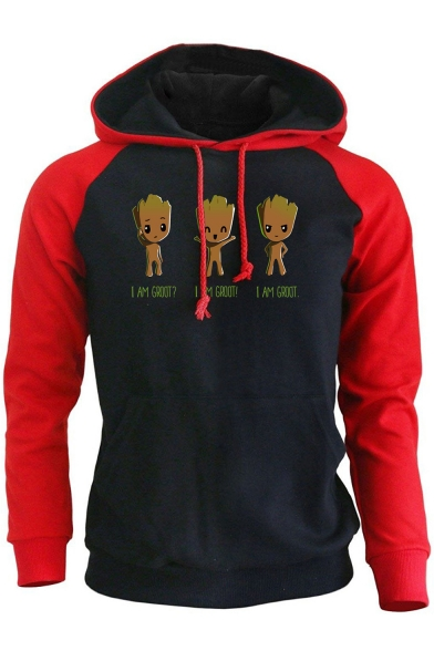 Cartoon Letter I AM GROOT Printed Colorblock Long Sleeve Sports Fitted Hoodie