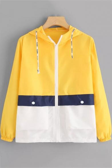 Colorblock Long Sleeve Zip Placket Hooded Coat