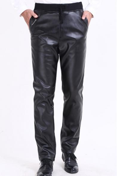 Cool Basic Elastic Waist Plain Black PU Pants