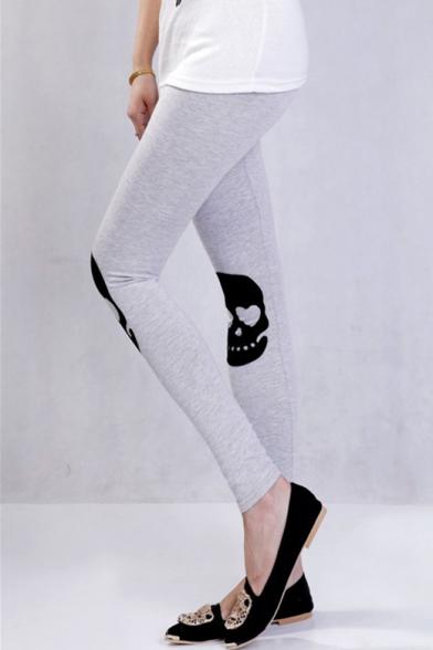 Cotton Classic Elastic Waist Skull Printed Slim Leggings