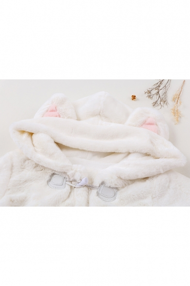 Cute Cartoon Cat Claw Printed Toggle Long Sleeve Bow Embellished Hooded Coat