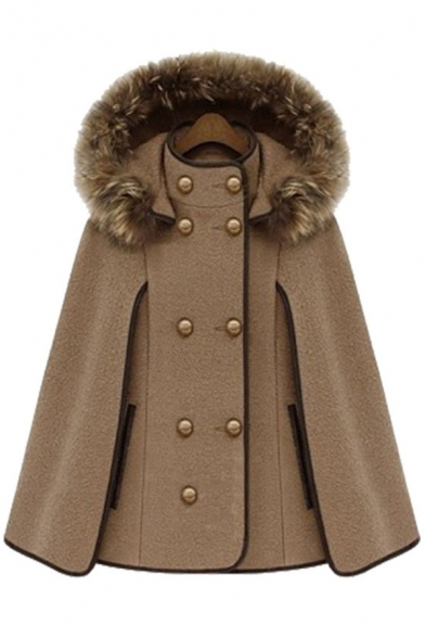 Double Breasted Plain Casual Warm Hooded Cape Woolen Coat