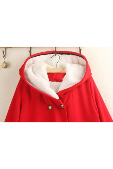 Double Button Plain Long Sleeve Thick Hooded Tunics Woolen Cape Coat