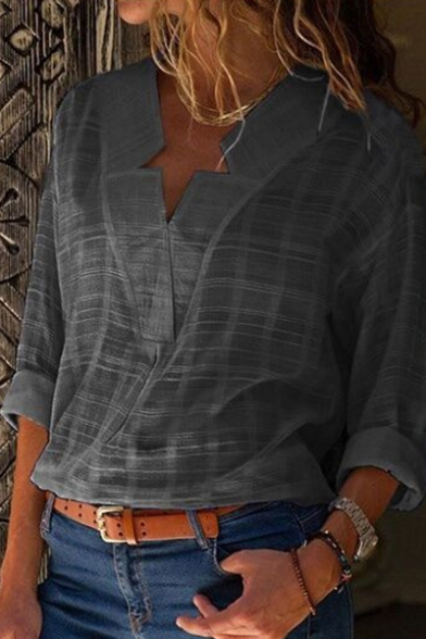 Fashion V Neck Long Sleeve Plain Loose Blouse Shirt