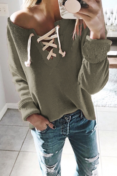 Long Sleeve V Neck Lace Up Front Plain Loose Knit Tee