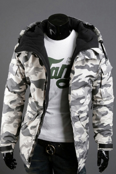 New Arrival Long Sleeve Hooded Camouflage Printed Zipper Cotton Coat