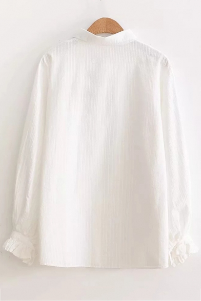 New Fashion Leaf Embroidered Long Sleeve Lapel Collar Button Down White Shirt