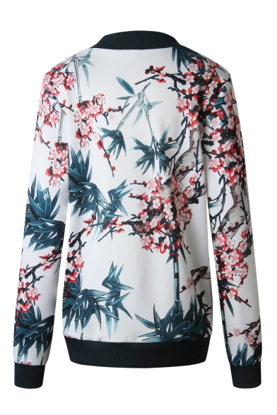 New Trendy Floral Pattern Long Sleeve Stand Collar Zip Up Jacket