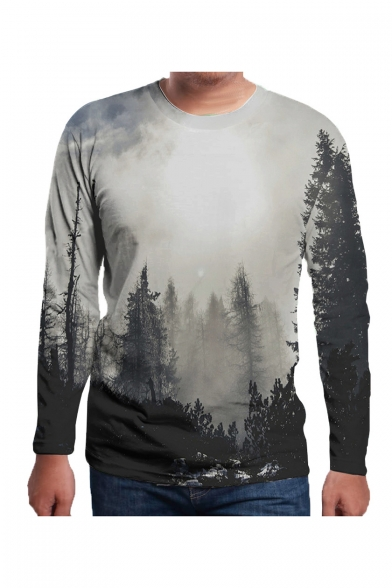 Retro Gray Forest Print Round Neck Long Sleeves Autumn Tee LC497164 фото