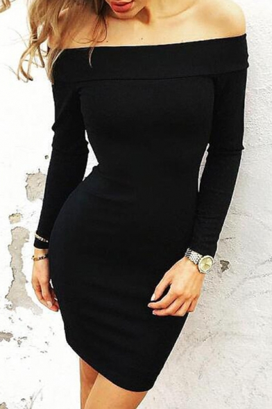 Sexy Off The Shoulder Long Sleeve Plain Bodycon Plain Mini Dress