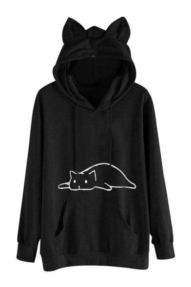 Stylish Hot Fashion Long Sleeve Cartoon Cat Printed Leisure Hoodie