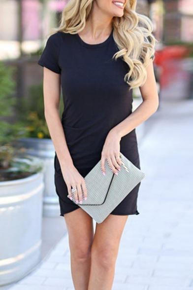 Summer New Trendy Short Sleeve Plain Tulip Hem Mini Dress