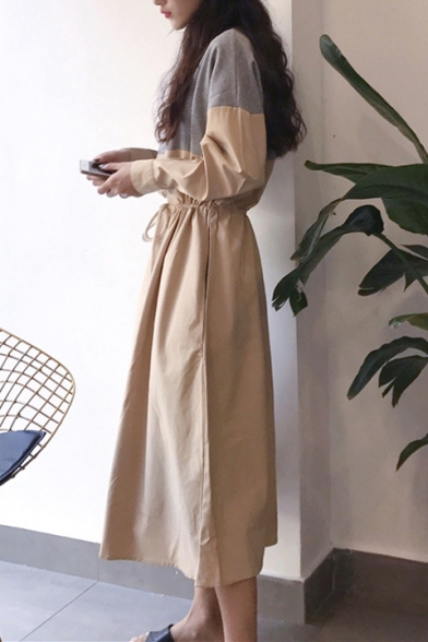 Trendy Colorblock Half-Zip Stand Collar Long Sleeve Drawstring Waist Midi A-Line Dress