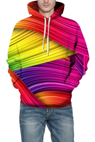 Unique 3D Colorful Ombre Striped Pattern Long Sleeve Relaxed Fitted Red Hoodie