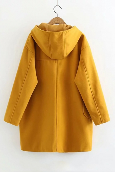 Winter's Long Sleeve Hooded Toggle Button Front Irregular Pocket Yellow Longline Coat