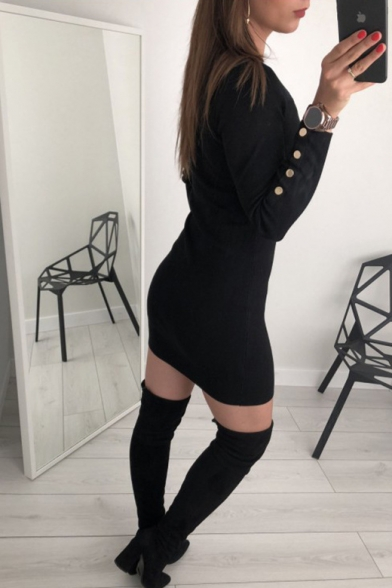 Black Button Round Neck Long Sleeve Knit Shift Mini Dress