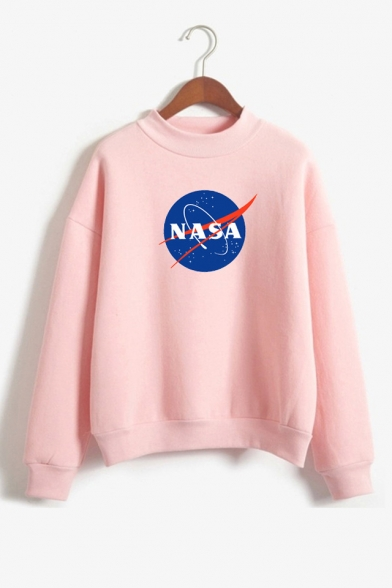 Crewneck Long Sleeve Trendy NASA Letter Pattern Relaxed Fit Sweatshirt