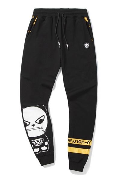 Cute Black Cotton Panda Cartoon Drawstring Waist Sport Pants