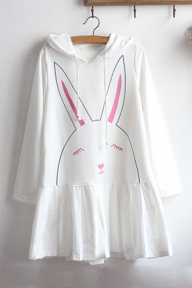 Girls' Cute Cartoon Rabbit Printed Hooded Long Sleeve Mini Cotton Swing Dress