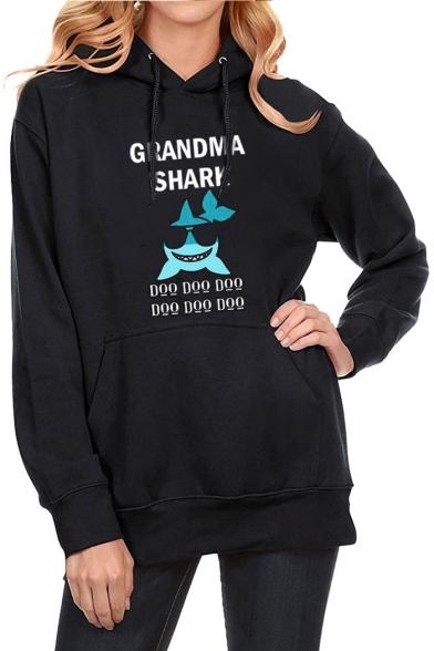 Hot Popular Long Sleeve Letter Cartoon Shark Printed Black Hoodie
