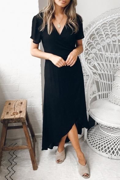 a4ad8d4cf75b Hot Sexy Style Short Sleeve V Neck Plain Midi Wrap Dress - Beautifulhalo.com