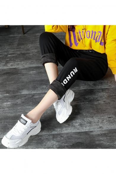 Leisure Letter Printed Drawstring Waist Sports Sweatpants