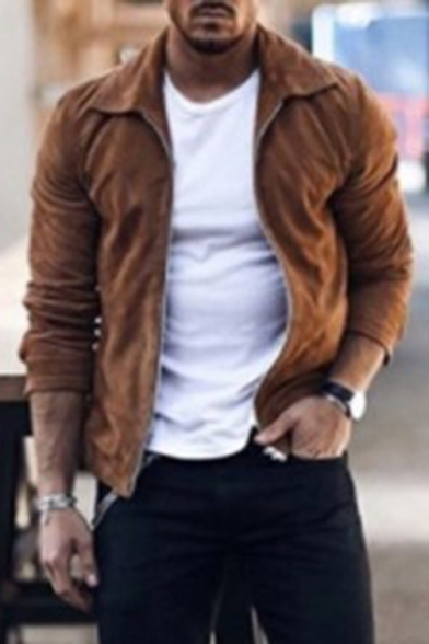 Men's Popular Solid Lapel Collar Long Sleeve Zip Up Suede Fitted Jacket