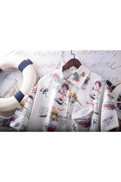 New Stylish Unique Cartoon Graffiti Pattern Short Sleeve White Button Down Shirt